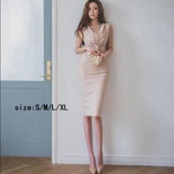 セクシー タイトドレス 韓国 レディース ノースリーブ トレンド イベント パーティー ドレス ワンピ 無地 スリット キャバ様