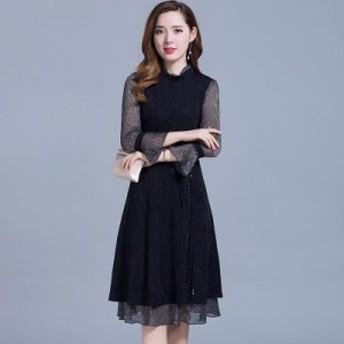 パーティードレス ワンピースドレス 結婚式 ドレス お呼ばれ ワンピース お呼ばれドレス 卒業式 二次会 長袖 20代 30代 黒ブラック N106
