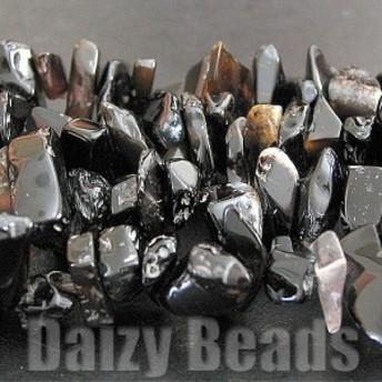 天然石 パワーストーン ビーズ 「ブラックオニキス(天然)」 さざれ 約5x8-15mm 1連(約80-90cm)
