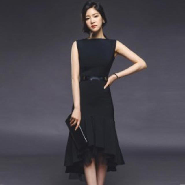 パーティードレス ワンピースドレス 結婚式 ドレス お呼ばれ ワンピース お呼ばれドレス 卒業式 二次会 長袖 20代 30代 黒ブラック N026