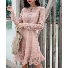 ドレス 裾フリル レースワンピース エレガント 長袖 ミニ ショート パーティー お呼ばれ 二次会 ピンク 5258