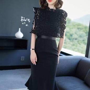 パーティードレス 黒 結婚式 ドレス お呼ばれ ワンピース 20代 30代 レース 上品 膝丈 膝下 マーメイドライン ブラック