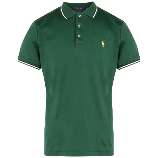 《セール開催中》POLO RALPH LAUREN メンズ ポロシャツ グリーン S コットン 100% Custom Slim Soft Touch Polo