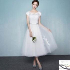 69ae3cdfc93cf ウェディングドレス 結婚式 ウエディングドレス 二次会 パーティ ミモレ丈 ドレス 披露宴 花嫁ドレス お呼ばれ 白