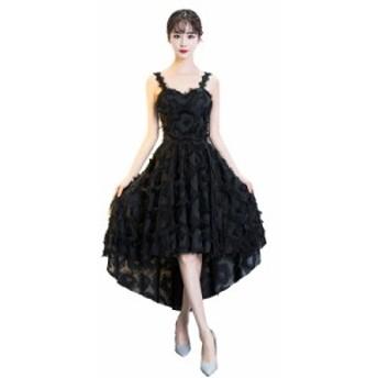 パーティードレス ワンピースドレス 結婚式 ドレス お呼ばれ ワンピース お呼ばれドレス 卒業式 二次会 長袖 20代 30代 黒ブラック H023