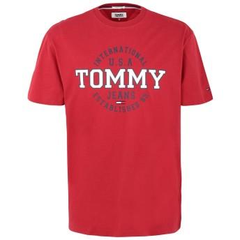 《期間限定 セール開催中》TOMMY JEANS メンズ T シャツ レッド M コットン BCI 100% TJM CIRCULAR TEE
