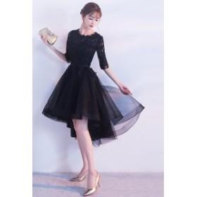 パーティードレス ワンピースドレス 結婚式 ドレス お呼ばれ ワンピース お呼ばれドレス 卒業式 二次会 長袖 20代 30代  R077