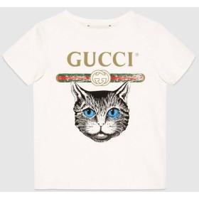 〔チルドレンズ〕GUCCI ロゴ&ミスティックキャット Tシャツ