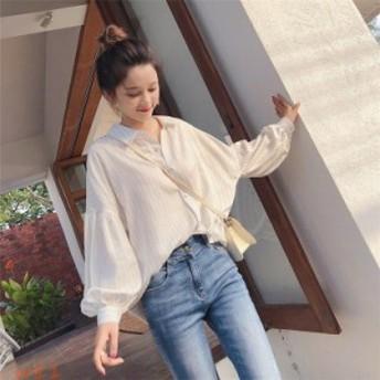 シャツ ブラウス レディース 韓国風 カジュアル 長袖 ランタンスリーブ シフォン 夏 ストライプ おしゃれ ゆったり ファッション
