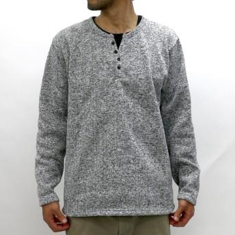 Tシャツ - MARUKAWA Tシャツ 長袖 大きいサイズ メンズ 秋 冬 ヘンリーネック 起毛 グレー/ブラック 2L/3L/4L/5L【ニット シンプルきれいめ 清潔感】