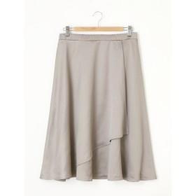 【大きいサイズレディース】【LL-5L展開】サテン地アシンメトリーフレアスカート 大きいサイズ スカート フレアスカート