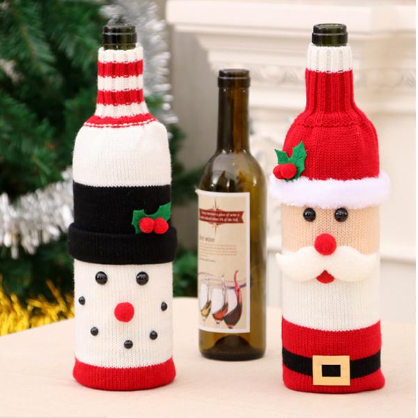 聖誕飾品 耶誕針織紅酒瓶套 麋鹿雪人 交換禮物 聚會居家 平安夜水杯袋子 節慶萬用 慶祝派對紅酒【PMG286】收納女王