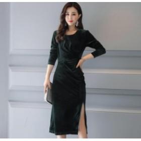 パーティードレス ワンピースドレス 結婚式 ドレス お呼ばれ ワンピース お呼ばれドレス 卒業式 二次会 長袖 20代 30代 黒ブラック M061