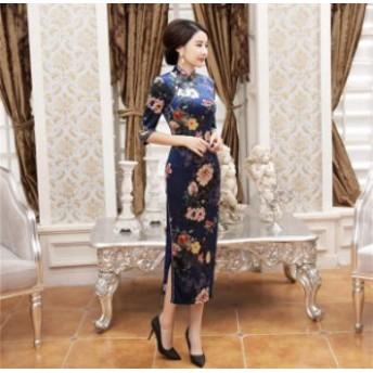 パーティードレス ワンピースドレス 結婚式 ドレス お呼ばれ ワンピース お呼ばれドレス 卒業式 二次会 長袖 20代 30代 黒ブラック M034