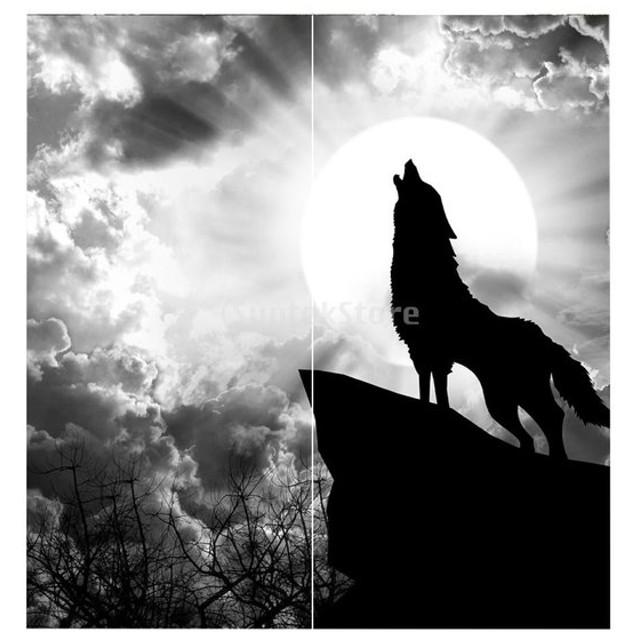 ポリエステル製 カーテン 3D デジタル印刷 窓カーテン 遮光 断熱 2パネル 家の装飾 全14デザイン - 狼