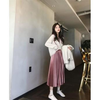 Fashions← 限定発売 韓国ファッション CHIC気質 ベルベット ハイウエスト プリーツスカート