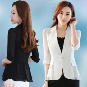 フォーマル スーツ ジャケット 薄い 夏 通勤 七分袖 無地 着痩せ レディース シフォン 女性 オフィス