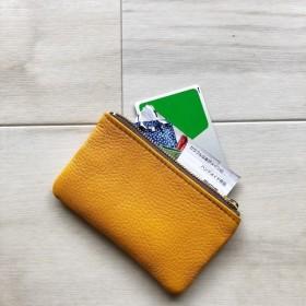 ポーチ 本革 シュリンク マスタード イエロー カードケース コインケース 小物入れ