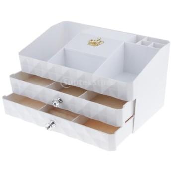 コスメ収納ボックス 化粧品入れ メイク収納ケース 三重層 化粧ツール収納ケース ディスプレイホルダー 引き出し オーガナイザー ミラー付き