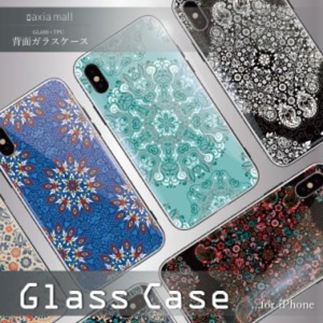 d8bc8a1ecc ガラスケース iPhone XS iPhone8 ケース 背面ガラス TPU スマホケース おしゃれ 海外 ペイズリー Paisley 西海岸 模様