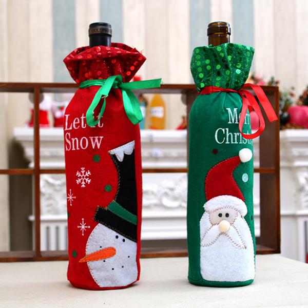 聖誕飾品 耶誕紅酒瓶束口套 派對裝飾 麋鹿雪人 交換禮物 聚會居家 平安夜 袋子 節慶萬用 慶祝【PMG297】收納女王