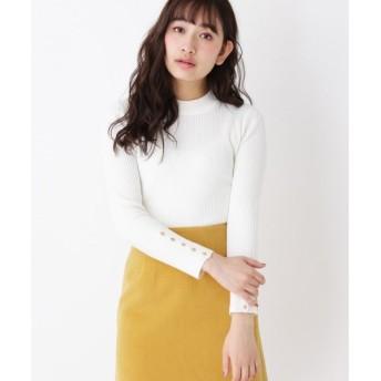 index / インデックス 袖ボタンハイネックリブニット