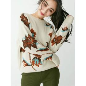 [EVRIS]ジャガード BIG FLOWER ニットプルオーバー