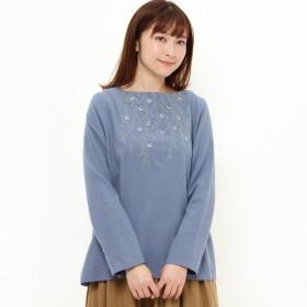 シャツ ブラウス レディース 綿起毛素材の胸元フラワー刺繍ブラウス 「ブルー」