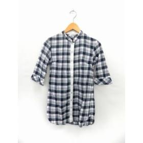 【中古】Lusso vita weekend ルッソヴィータウィークエンド チュニック シャツ ブラウス ノーカラー チェック柄 七分袖 36 紺