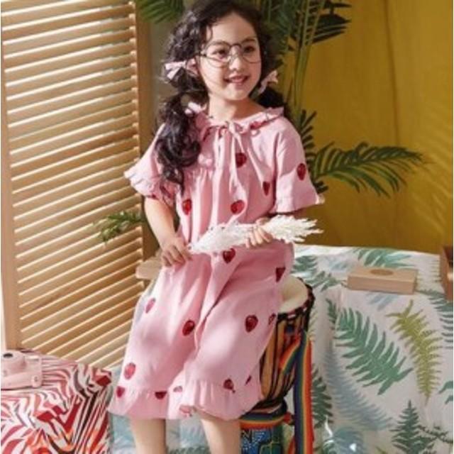 キッズ 女の子 イチゴ柄 寝巻き かわいい ルームウェア 半袖 姫系 部屋着 綿100 パジャマ 子供服 フリル ルームワンピース