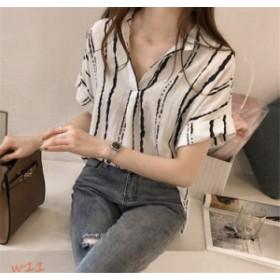 シャツ ブラウス レディース 着痩せ OL カジュアル 通勤 おしゃれ Tシャツ ゆったり 3色 新発売 韓国風 半袖 ストライプ
