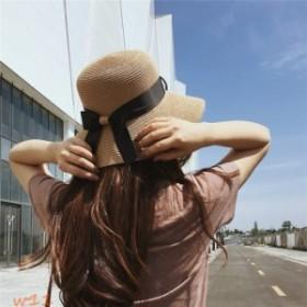 帽子 UV つば広 日よけ 肌触り抜群 リボン 紫外線対策 日焼け対策 日焼け止め キャンプ つば広 折りたたみ たためる UVカットレディース