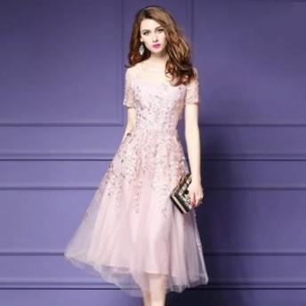 パーティードレス ワンピースドレス 結婚式 ドレス お呼ばれ ワンピース お呼ばれドレス 卒業式 二次会 長袖 20代 30代 H007