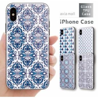 ガラスケース iPhone XS iPhone8 ケース 背面ガラス TPU スマホケース おしゃれ 海外 モロッカンタイル モロッコ柄 ボヘミアン