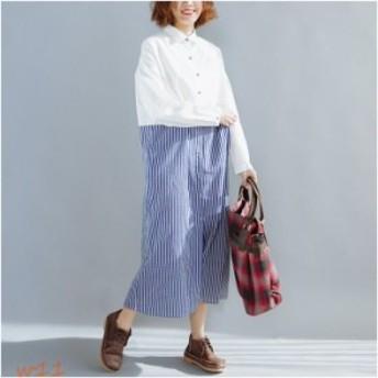シャツワンピース ロング丈 マキシワンピース 大きいサイズ ロングシャツワンピース ゆったり 体型カバー ワンピース コットン綿