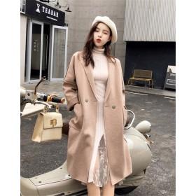 この季節に大活躍 大人の魅力 韓国ファッション 中・長セクション ウールコート