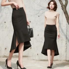 シックロングスカート レディース ロングスカート フレアスカート ミモレ丈 ウエストゴム 大きいサイズ スカート
