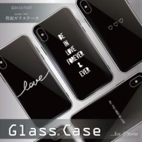 d624d5661c ガラスケース iPhone XS iPhone8 ケース 背面ガラス TPU スマホケース おしゃれ 海外 シンプル ブラック ハート アルファベット