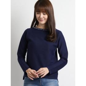 ニット・セーター - TAKA-Q スパンモイスト衿ビジュークルーネック長袖プルオーバーニット