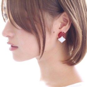 Circlesquare pierce/earring RED