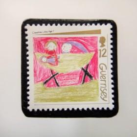 ガーンジー クリスマス切手ブローチ 4461