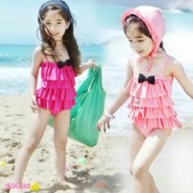 子供水着 女の子 ワンピース 韓国水着 キッズ 二点セット キャップ付き 帽子セット フリル