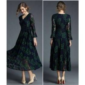 パーティードレス 結婚式 二次会 お呼ばれドレス お呼ばれ 花柄 レース ワンピース グリーン サイドリボン 結婚式 披露宴