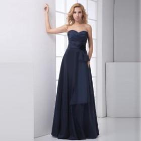 ドレス レディース パーティードレス ロングドレス ベアトップ フレアスカート サテン エレガント 花 大きいサイズ