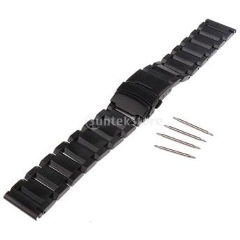 黒 時計バンド 高品質 繊細 ステンレス ウォッチ 交換 部品 修理 ストラップ 手首 調整可能 全4サイズ - 18mm