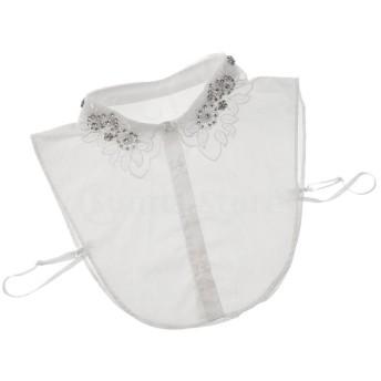 女性の偽の襟取り外し可能な偽のブラウス刺繍の綿の水晶