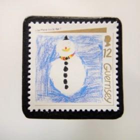 ガーンジー クリスマス切手ブローチ 4468