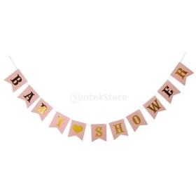 全4色 BABY SHOPWERバナー ガーランド ベビー 誕生日 パーティー ホーム ぶら下がり 装飾 - ゴールドピンク, 説明したように