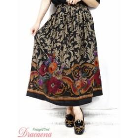 レディーススカート古着 USA製 シック きれいめ 草 木 花柄 総柄 黒 タック フレア スカート ロング丈 M位