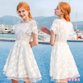 ワンピース レディース 夏 半袖 ひざ丈 フレアスカート 丸襟 デート ホワイト 白